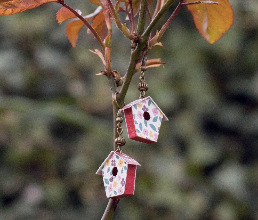 Cabane à oiseaux en papier - boucles d'oreilles pendantes