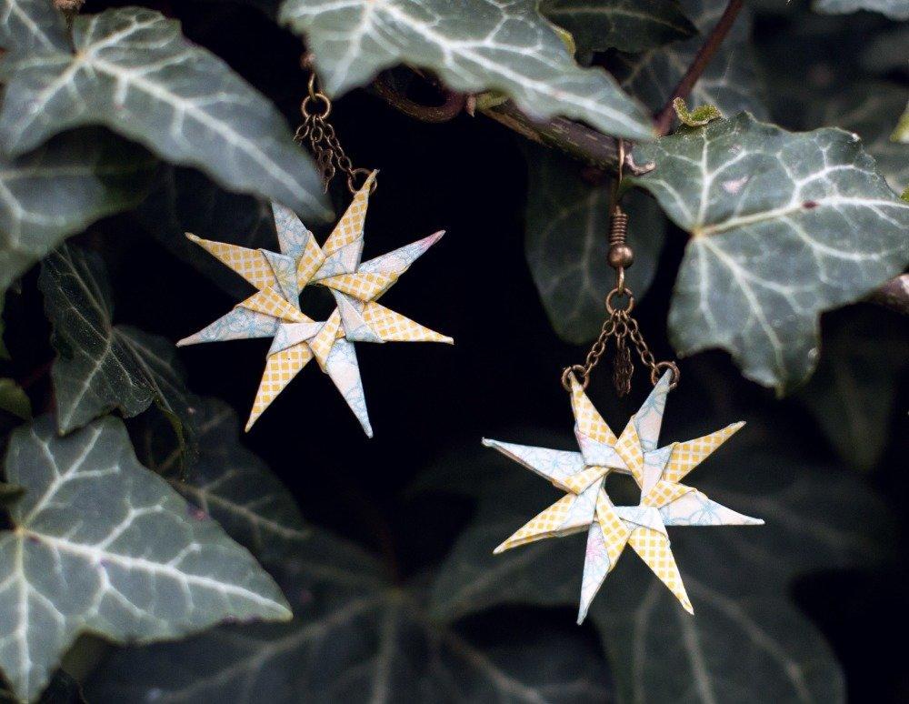 Étoiles en origami - boucles d'oreilles pendantes