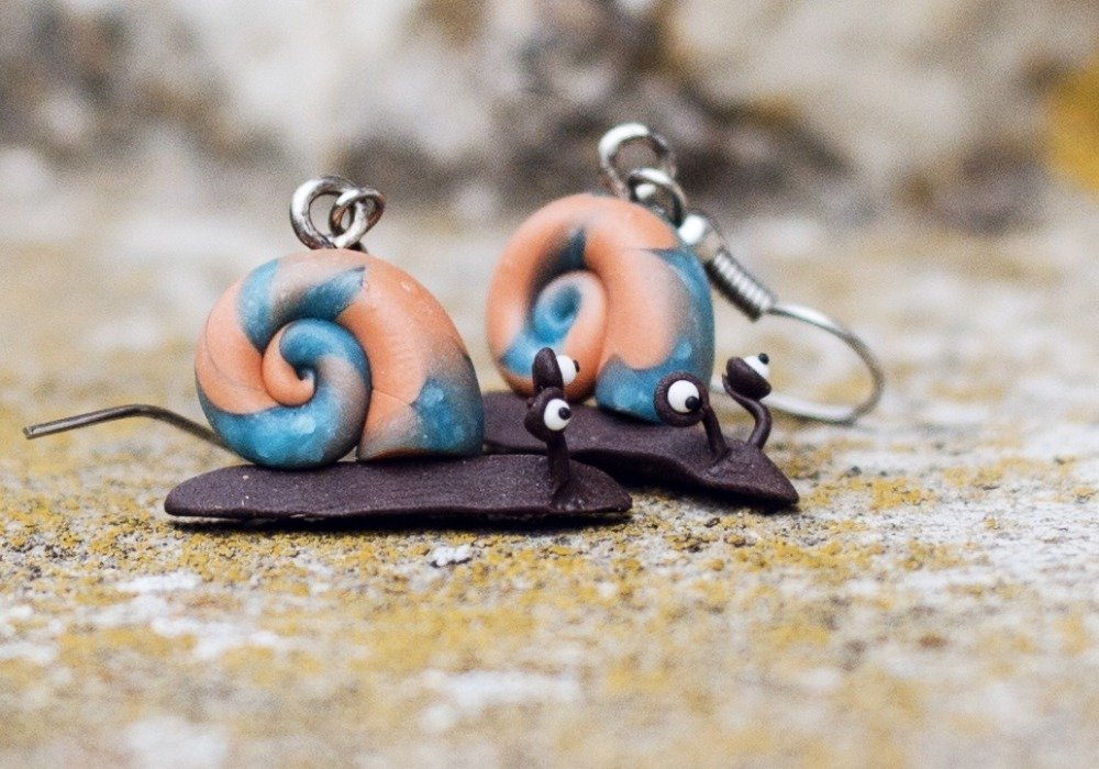 Escargots - boucles d'oreilles pendantes