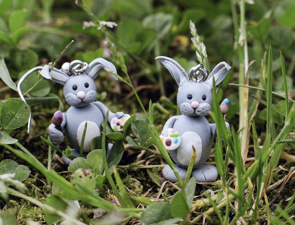 Lapins peintres - boucles d'oreilles pendantes