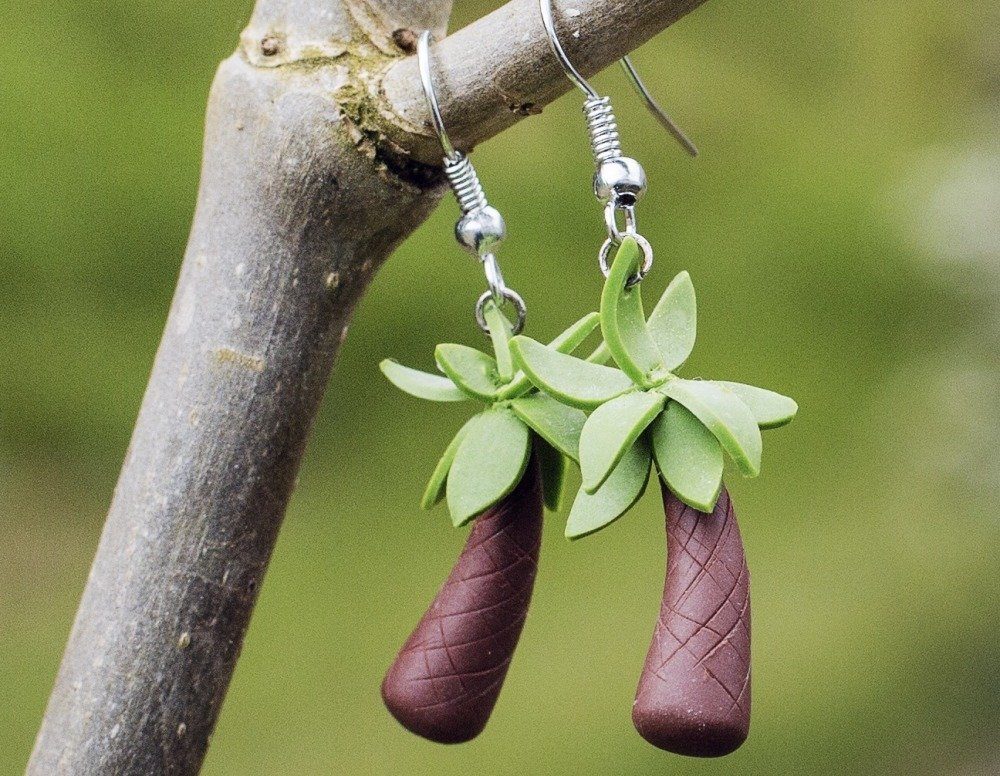 Palmier  - boucles d'oreilles pendantes