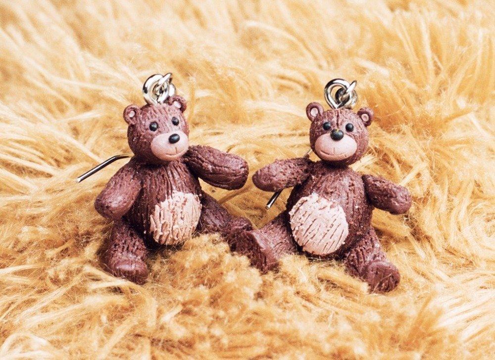 Ours en peluche - boucles d'oreilles pendantes