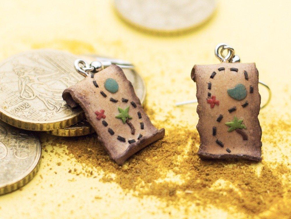 Cartes au trésor  - boucles d'oreilles pendantes