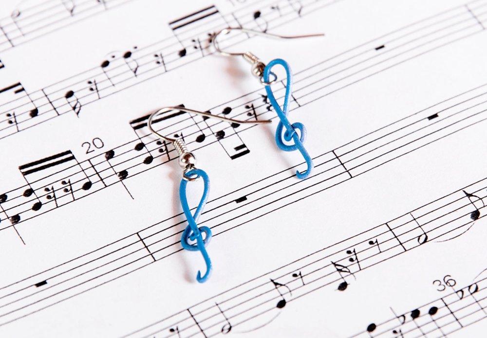 Clés de sol bleues - boucles d'oreilles [- musique -]