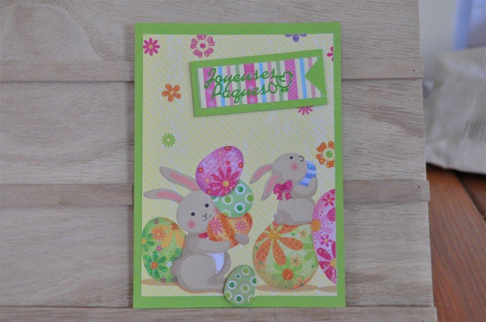 """Carte double de paques """"lapins et oeufs"""""""