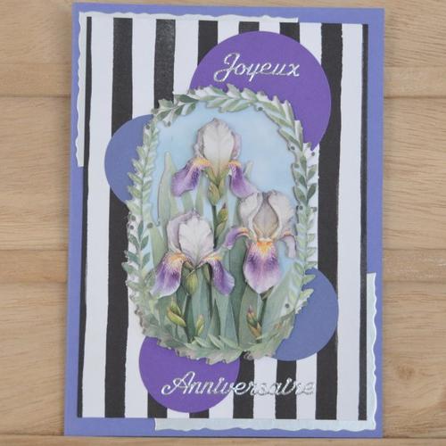 """Carte double de joyeux anniversaire """"iris violets"""" en 3d"""