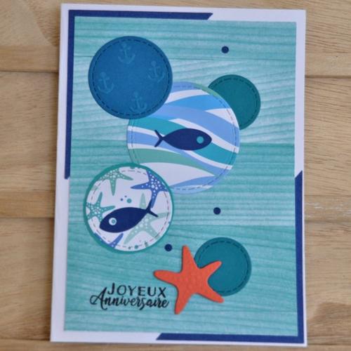 """Carte double de joyeux anniversaire """"poissons et etoile de mer"""""""