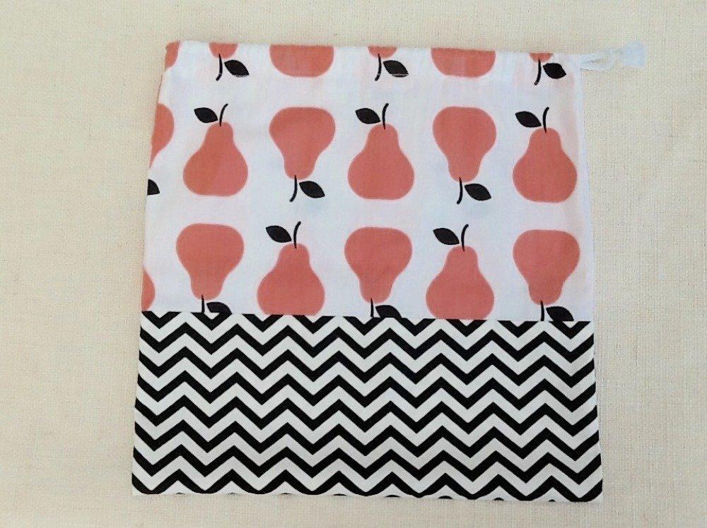 Pochon sac de rangement pour fille en coton imprimé, avec lien coulissant