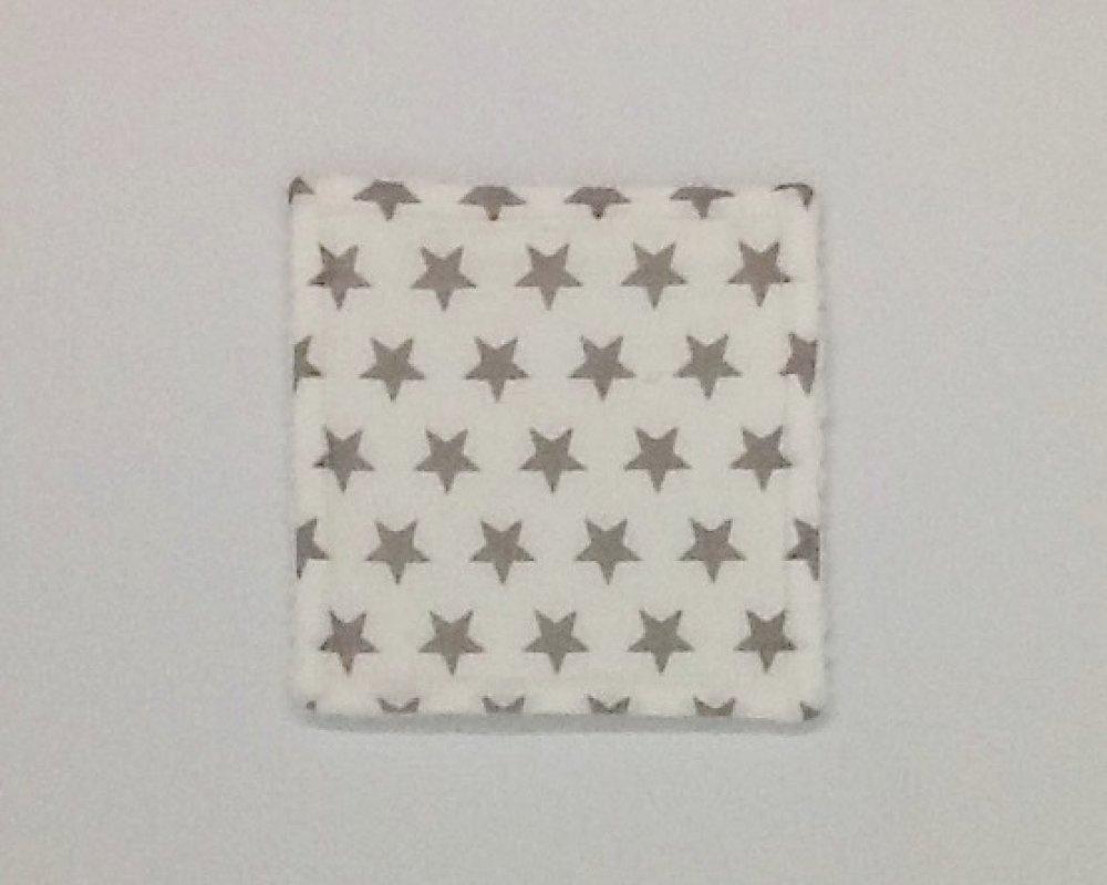 8 lingettes lavables pour bébé ou maman, grises et blanches avec imprimé étoiles, coton, éponge