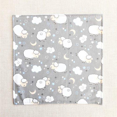 Serviette de table enfant - serviette de cantine - moutons gris
