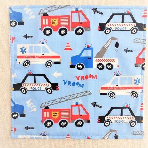Serviette de table enfant - serviette de cantine - vehicules urgence