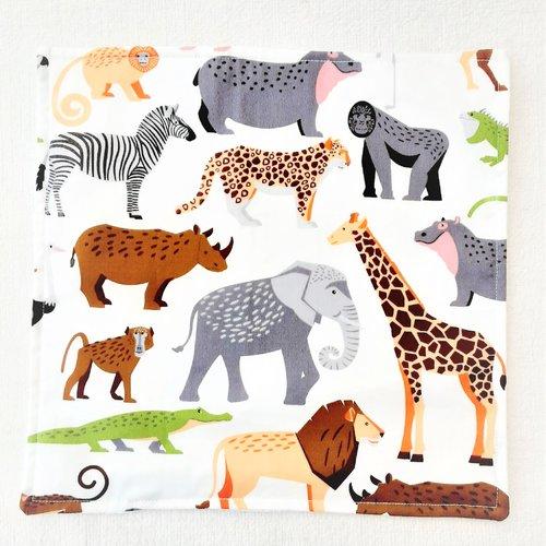Serviette de table enfant - serviette de cantine - animaux safari