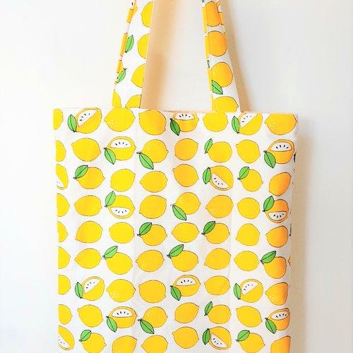 Sac tote bag citrons en 100% coton imprimé entièrement doublé idéal pour la plage, les vacances, les courses, cadeau de fête des m