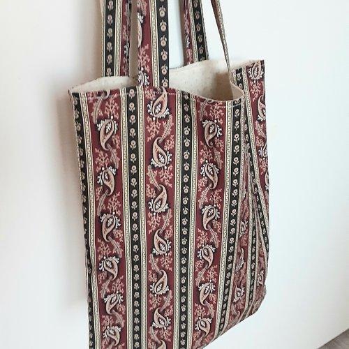 Sac tote bag classique en 100% coton imprimé entièrement doublé idéal pour la plage, les vacances, les courses, cadeau de fête des m