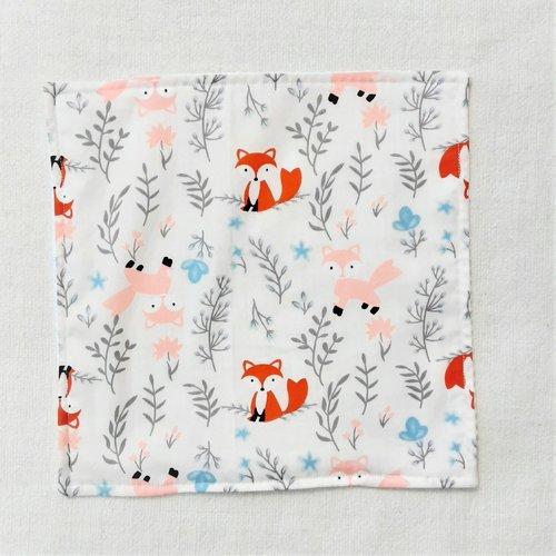 Serviette de table enfant - serviette de cantine - renardeaux orange