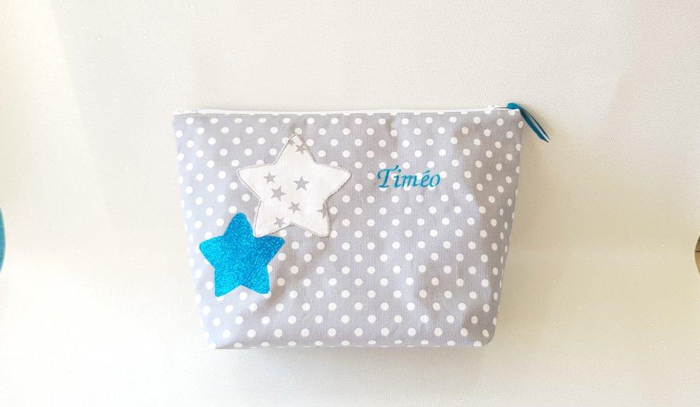 """Trousse de toilette """"STARS"""" personnalisée grise et turquoise"""