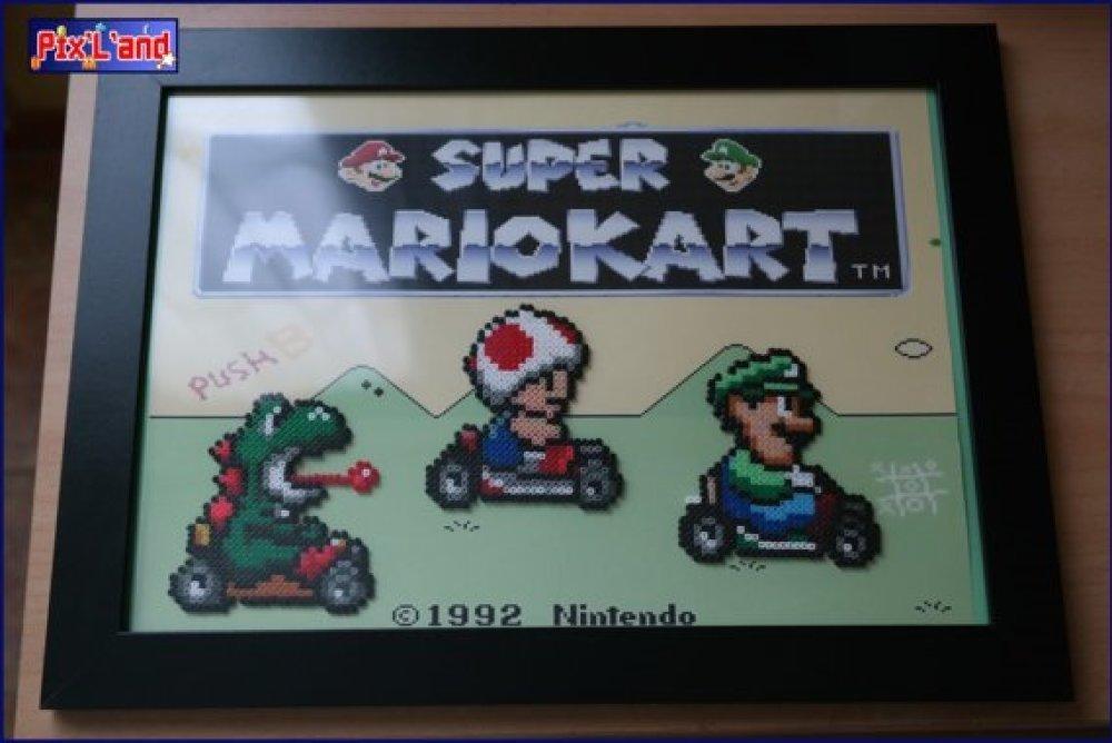 Pixel art Cadre Mario Kart en Perle Mini