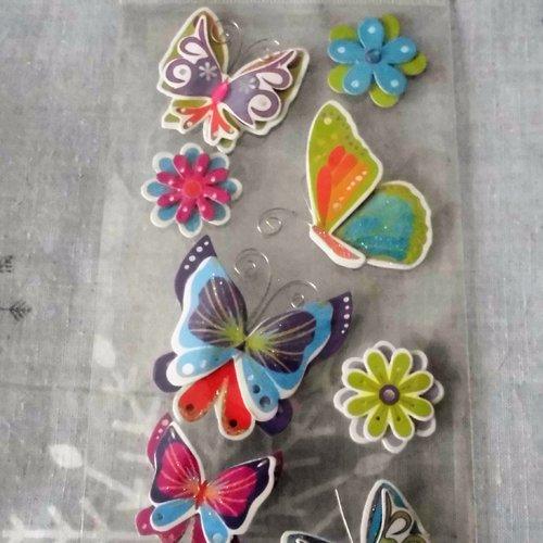 Stickers papillons et fleurs - effet 3d - global gift