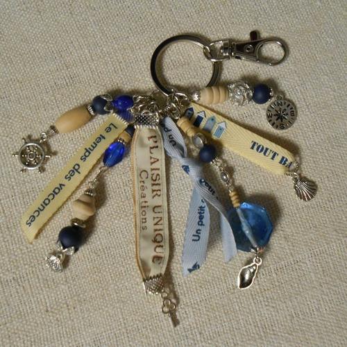 Porte clés bijoux de sac rubans vacances