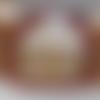 Collier perles de verre  rouge  argenté