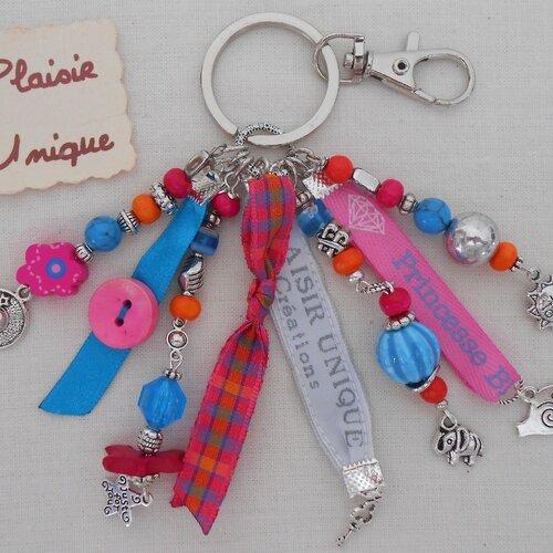 Porte clés rubans bijoux de sac ecossais turquoise fuchsia orange
