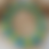 Bracelet  petits pois rayures turquoise vert