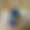 Bague ronde cabochon marbré bleu marine et gris