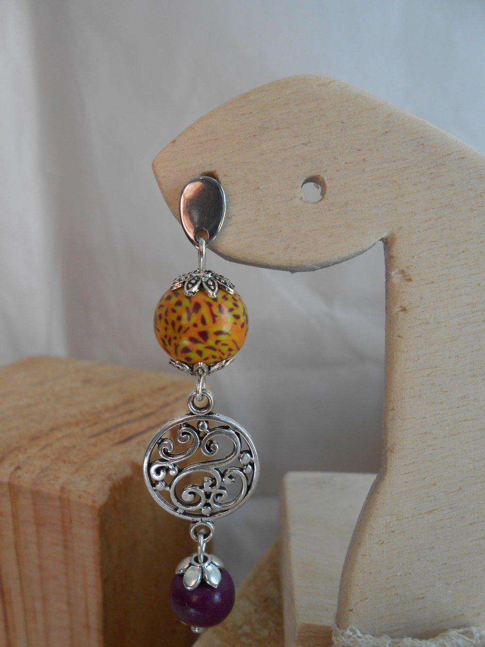 Boucles d'Oreille Marbré Jaune Orange et Prune