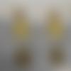 Boucles d'oreille jaune losange doré