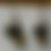Boucles d'oreille toile moutarde noir