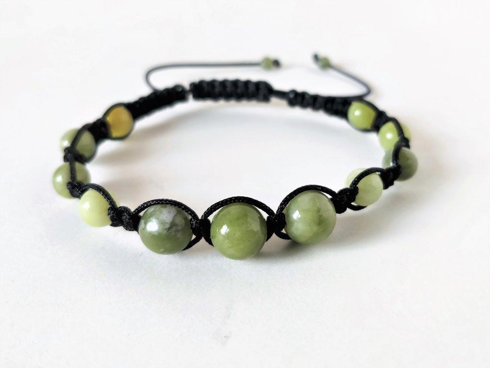 Bracelet jade néphrite vert perles 8 mm pierre naturelle