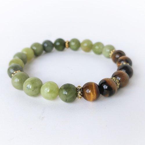 Bracelet pierre 6 oeils de tigre et jade néphrite vert (perles 8 mm) look 03. bracelet élastique