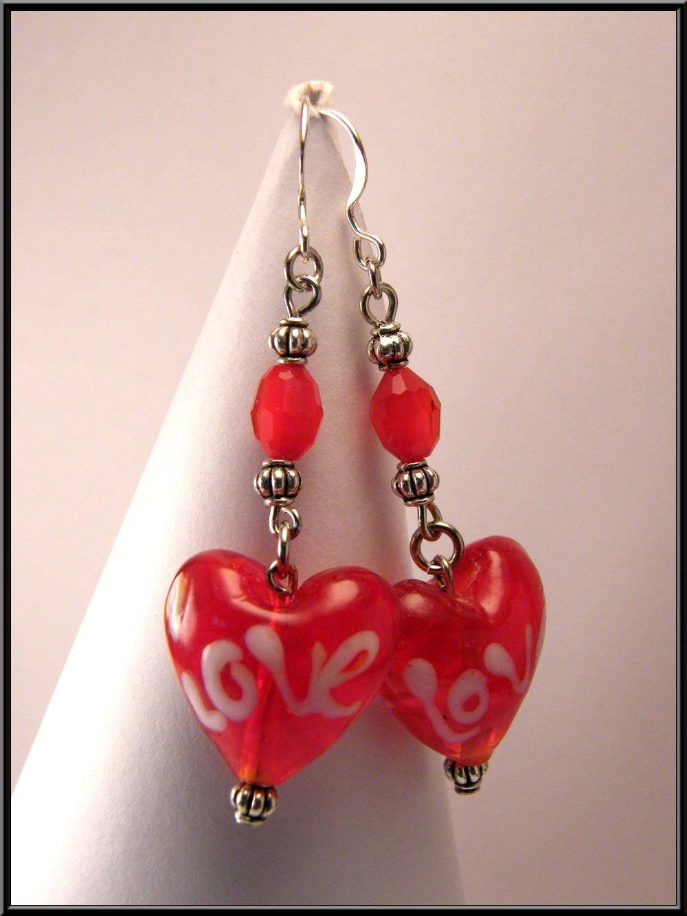 Boucles d'oreille coeur LOVE verre et facette en cristal, argent 925.