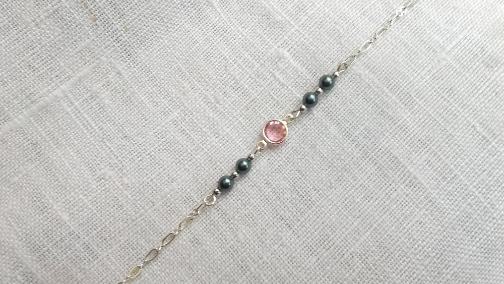 Bracelet  argent 925 et Swarovski éléments perles et cristal rose