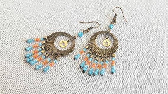 Boucles d'oreilles cristal, rocailles et anneaux  bronze