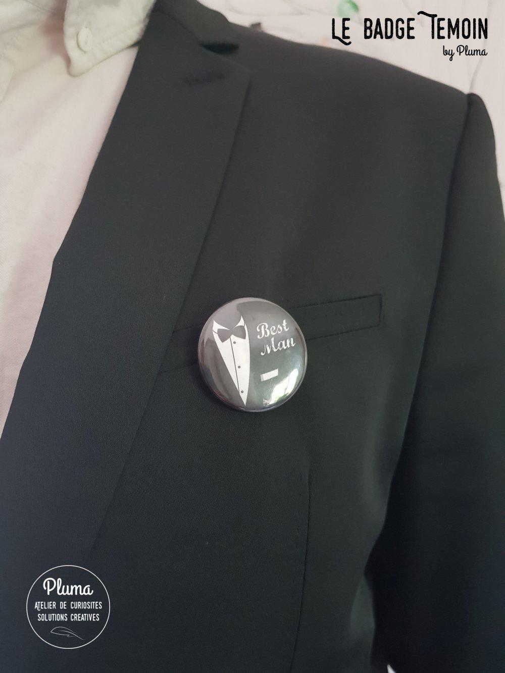 "Badge témoin ""Best man"""