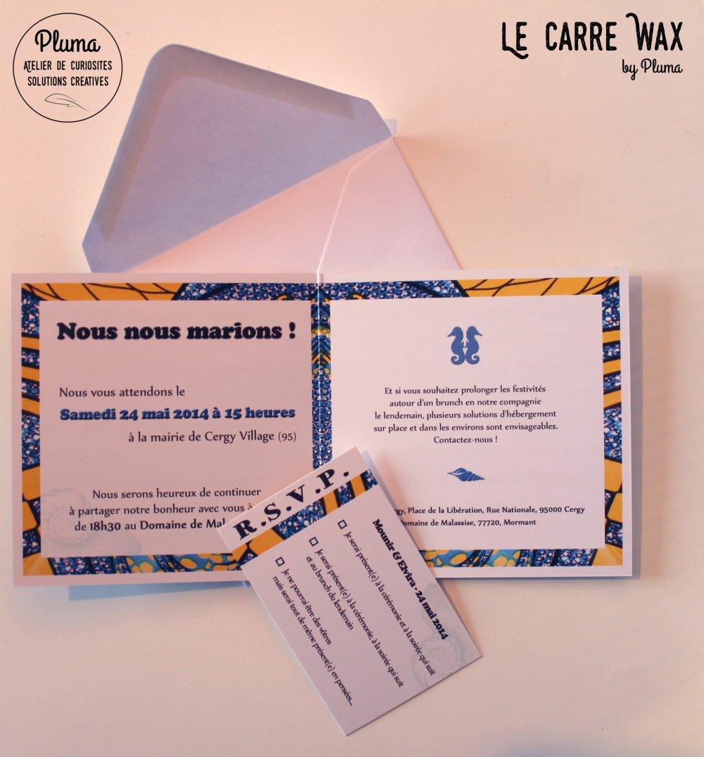 Faire-part de Mariage Carré Wax - Textes à personnaliser