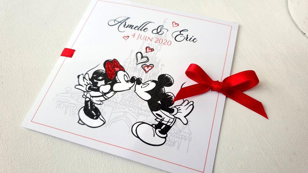 Faire-part / Invitation Mickey & Minnie - Mariage - Paillette - COULEURS AU CHOIX