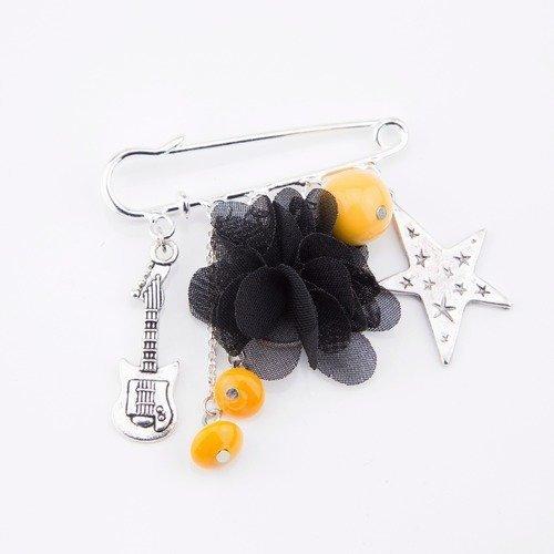 Broche epingle rock noire et jaune moutarde #1407