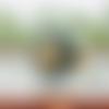 Bague vintage véritable bouton ancien vert kaki foncé et or #2115