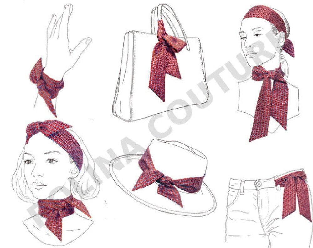 Foulard / Bandeau à nouer, tissu Japonais, motif Bandana, à Cheveux, Bracelet, Headband fil de fer, Blanc noir rouge