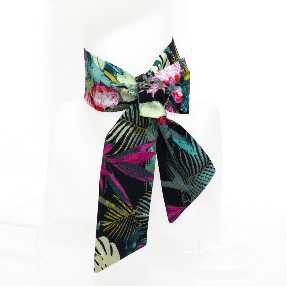 Foulard Bandeau Cheveux à nouer, Motif tropical vert floral végétal
