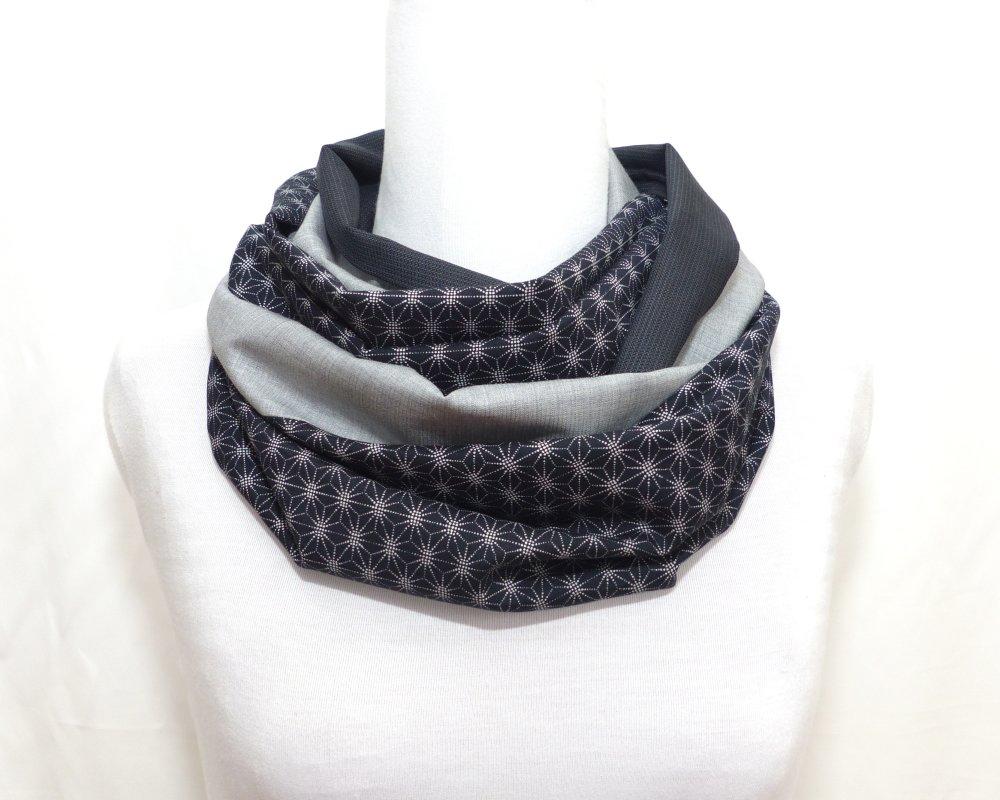 Echarpe Snood Laine et Coton, motif étoiles Asanoha gris