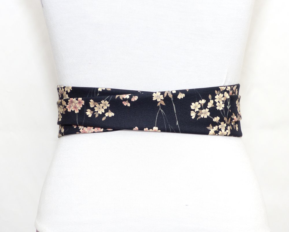 Ceinture Obi Noir Uni & Imprimé Fleurs Sakura