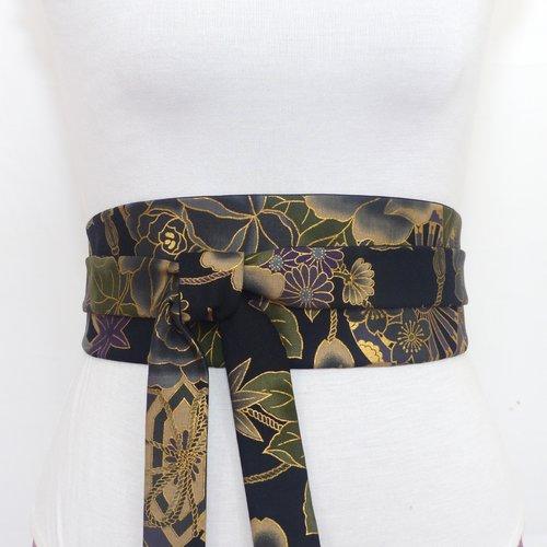 Obi or noir, ceinture a nouer noir fleurie