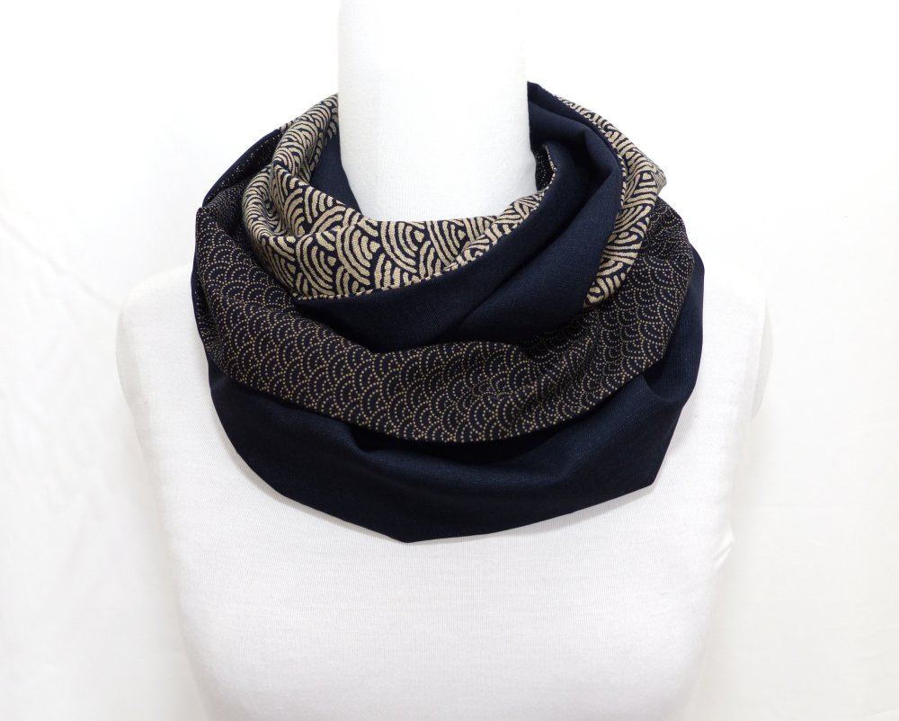 Echarpe Laine Bleu Patchwork Uni / motif géométrique, Coton, Tissus Japonais