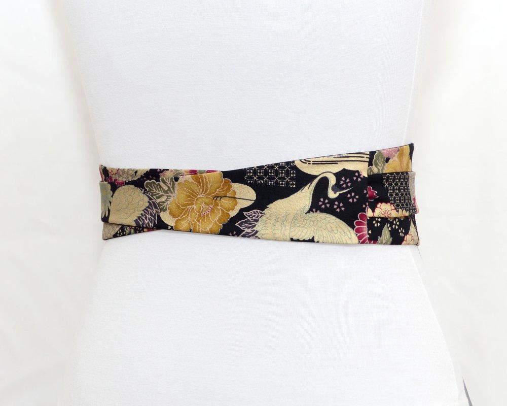 Ceinture obi à nouer, motifs Japonais géométriques, grues, fleurs; noir bordeaux kaki olive, Réversible et large, tissu kimono; femme