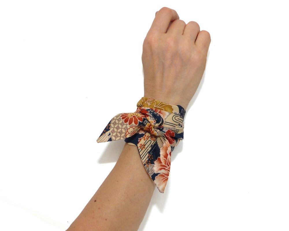 Foulard Bandeau Tissu Japonais, à nouer Cheveux, Bracelet, coton ocre taupe marine; Headband fil de fer
