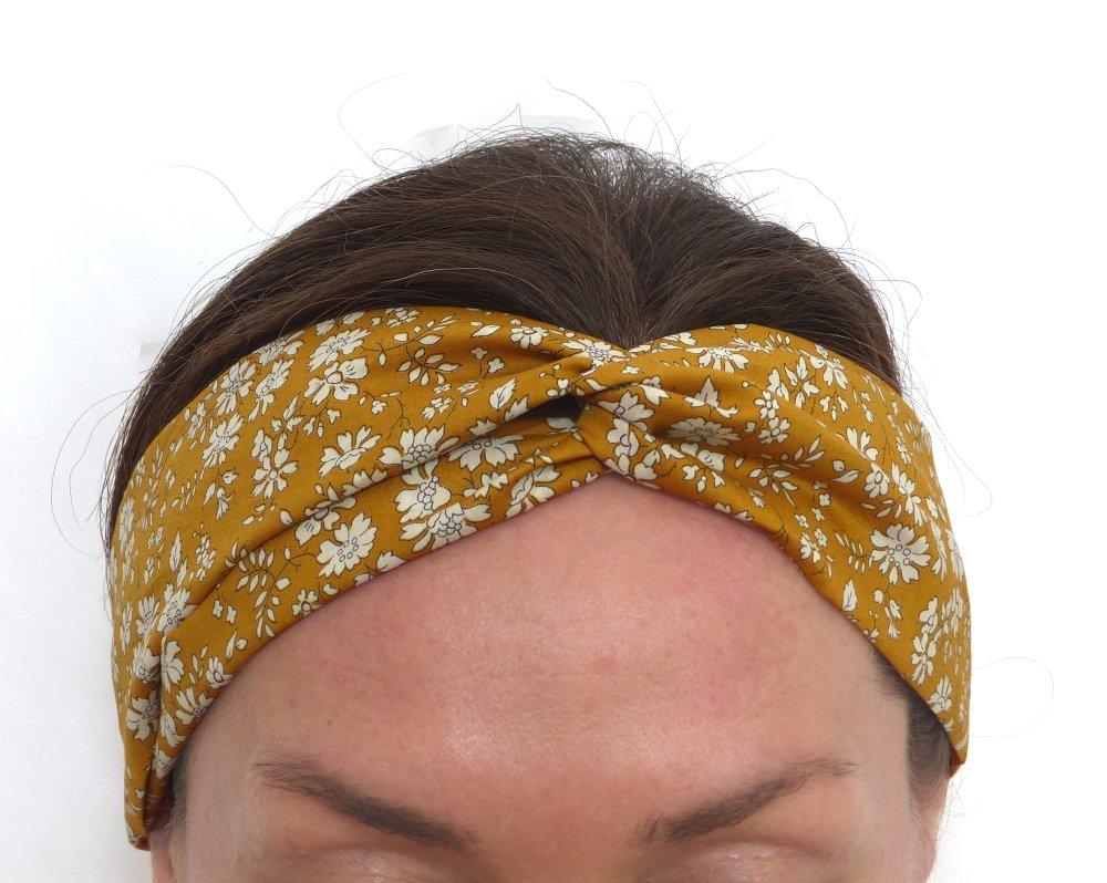 Bandeau à Cheveux Liberty Capel Moutarde, motif floral fleuri jaune, London, croisé torsadé, coton, extensible bande élastique, adulte