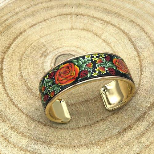 Bracelet manchette jardin printanier avec motif floral fait main en pâte polymère fimo, 5 couleurs, cadeau pour femme, cadeau pour maman